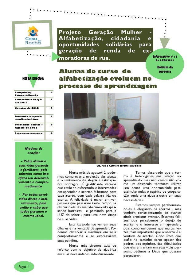 Projeto Geração Mulher -                             Alfabetização, cidadania e                             oportunidades ...