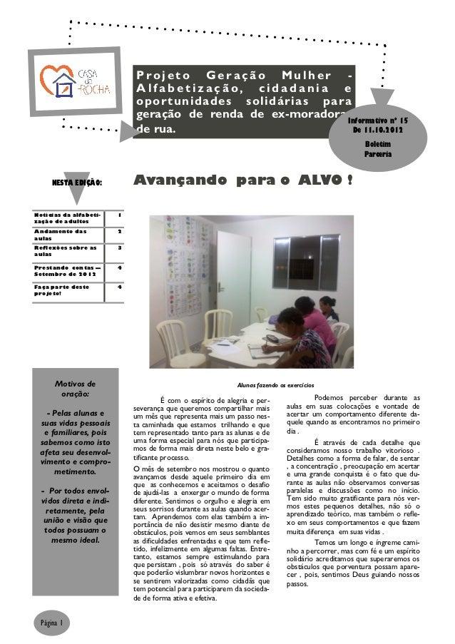 Projeto Geração Mulher -                              Alfabetização, cidadania e                              opor tunidad...