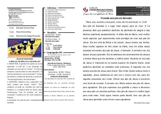 Rua André Luiz, nº. 13 E-mails Pastorais:                                                           Liderança             ...