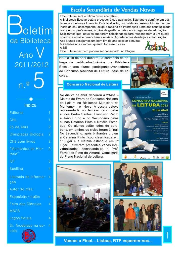 Escola Secundária de Vendas NovasBoletim                          Este boletim será o último deste ano letivo.            ...