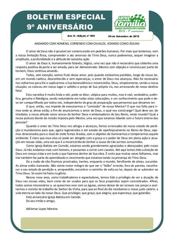 BOLETIM ESPECIAL        9º ANIVERSÁRIO                                        Ano X—Edição nº 506             09 de Setemb...