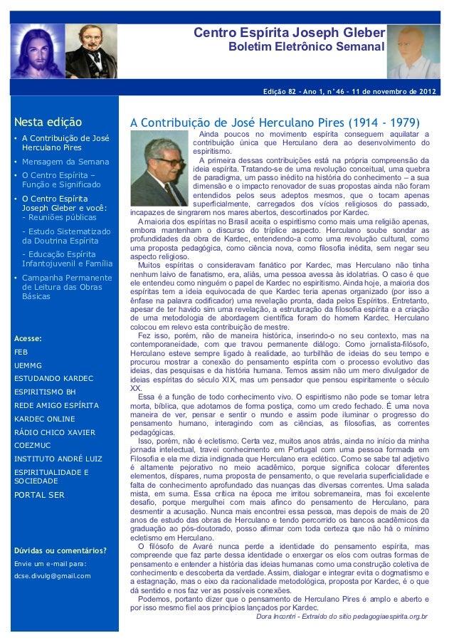 Centro Espírita Joseph Gleber                                                         Boletim Eletrônico Semanal          ...