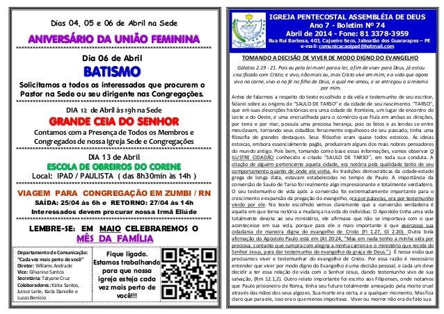 Dias 04, 05 e 06 de Abril na Sede ANIVERSÁRIO DA UNIÃO FEMININA **********************************************************...