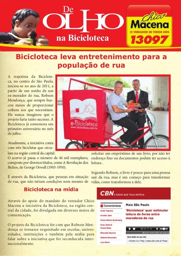 De                                 na Bicicloteca     Bicicloteca leva entretenimento para a                população de r...