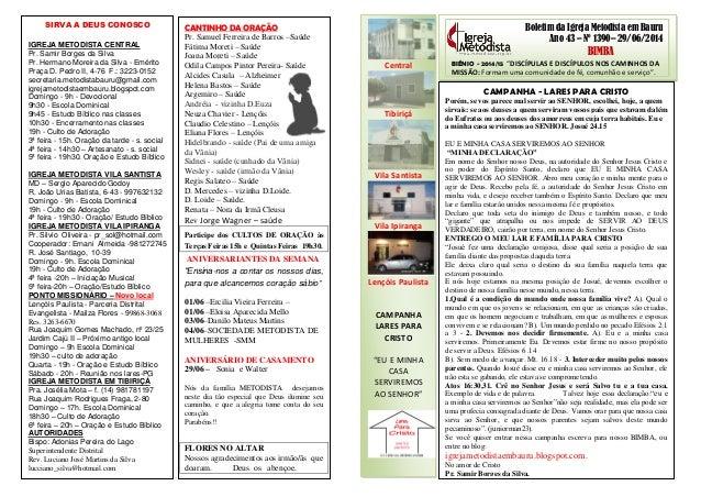 """Boletim da Igreja Metodista em Bauru Ano 43 – Nº 1390– 29/06/2014 BIMBA BIÊNIO - 2014/15 """"DISCÍPULAS E DISCÍPULOS NOS CAMI..."""
