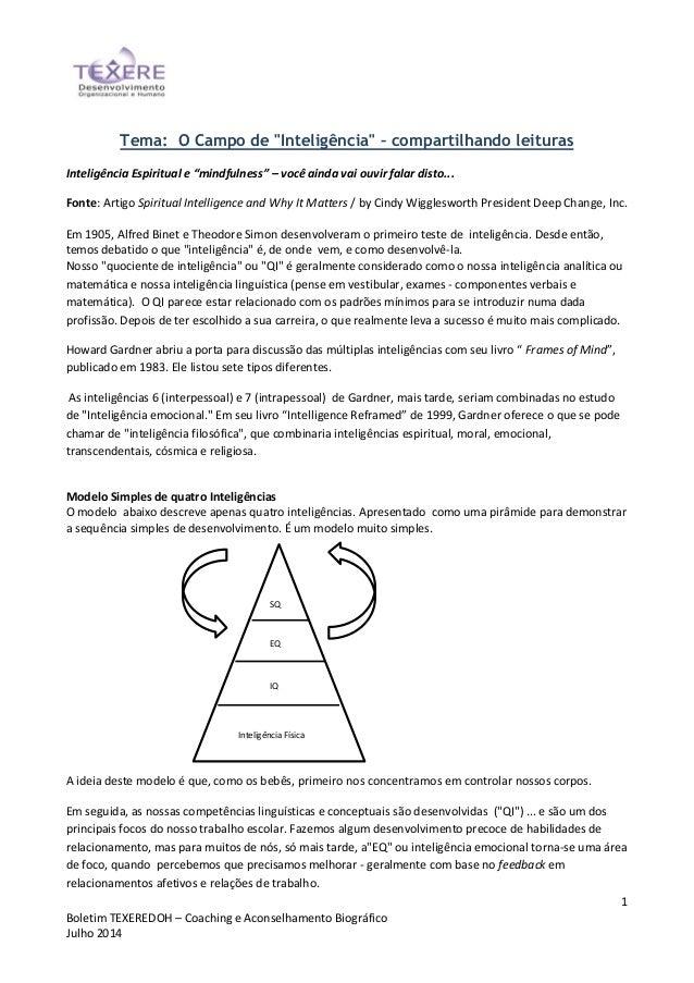 """1 Boletim TEXEREDOH – Coaching e Aconselhamento Biográfico Julho 2014 Tema: O Campo de """"Inteligência"""" – compartilhando lei..."""
