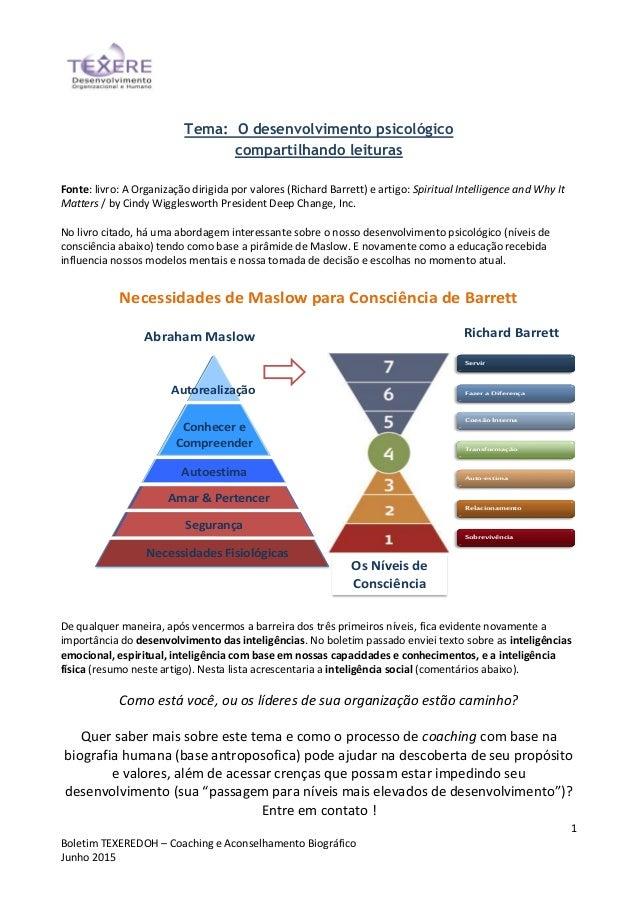 1 Boletim TEXEREDOH – Coaching e Aconselhamento Biográfico Junho 2015 Tema: O desenvolvimento psicológico compartilhando l...