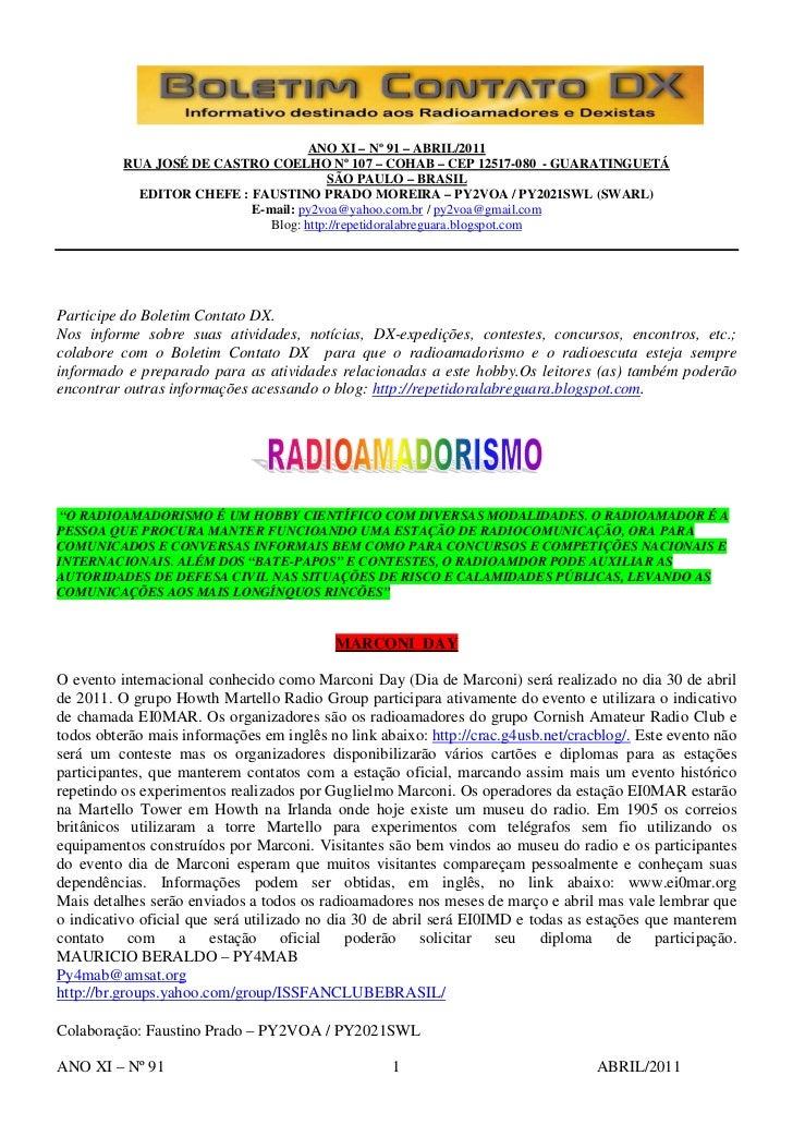 ANO XI – Nº 91 – ABRIL/2011          RUA JOSÉ DE CASTRO COELHO Nº 107 – COHAB – CEP 12517-080 - GUARATINGUETÁ             ...