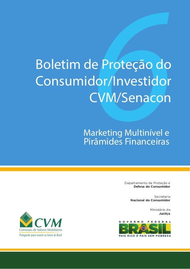 Marketing Multinível e Pirâmides Financeiras Secretaria Nacional do Consumidor Departamento de Proteção e Defesa do Consum...
