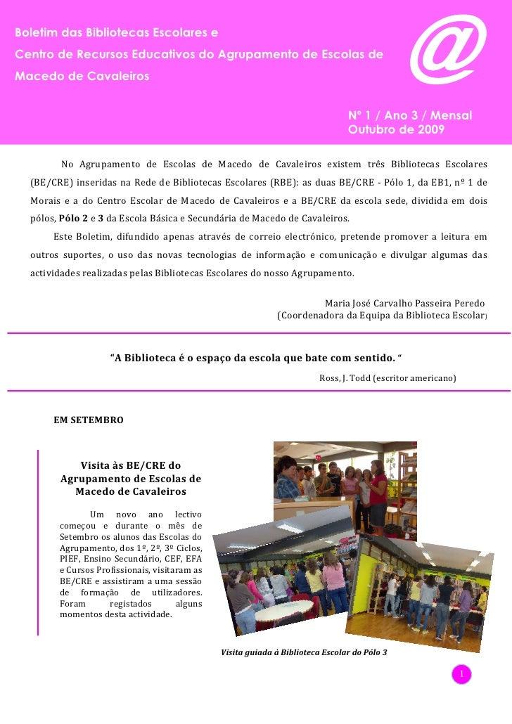 Boletim das Bibliotecas Escolares e Centro de Recursos Educativos do Agrupamento de Escolas de      Boletim das Biblioteca...
