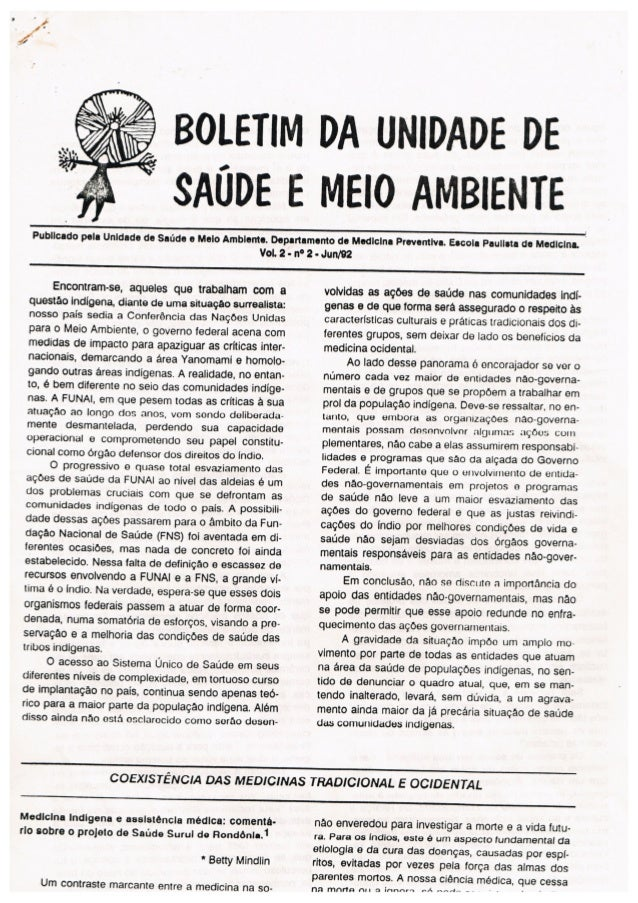 Boletim da Unidade de Saúde e Meio Ambiente Nº 2 - 1992