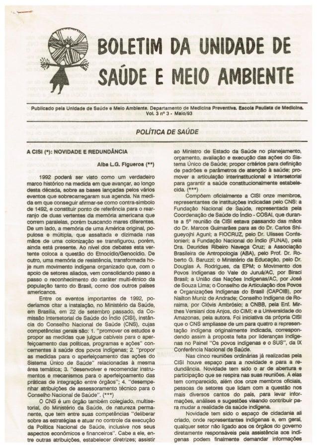 Boletim da Unidade de Saúde e Meio Ambiente Nº 3 - 1992