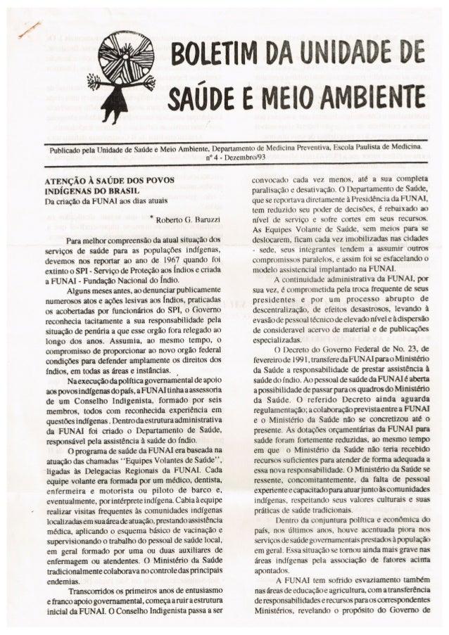 Boletim da Unidade de Saúde e Meio Ambiente Nº 4 - 1992