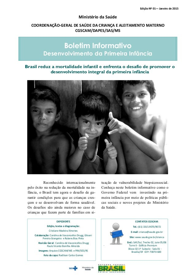 Boletim Informativo Desenvolvimento da Primeira Infância EXPEDIENTE Edição, textos e diagramação: Cristiane Madeira Ximene...