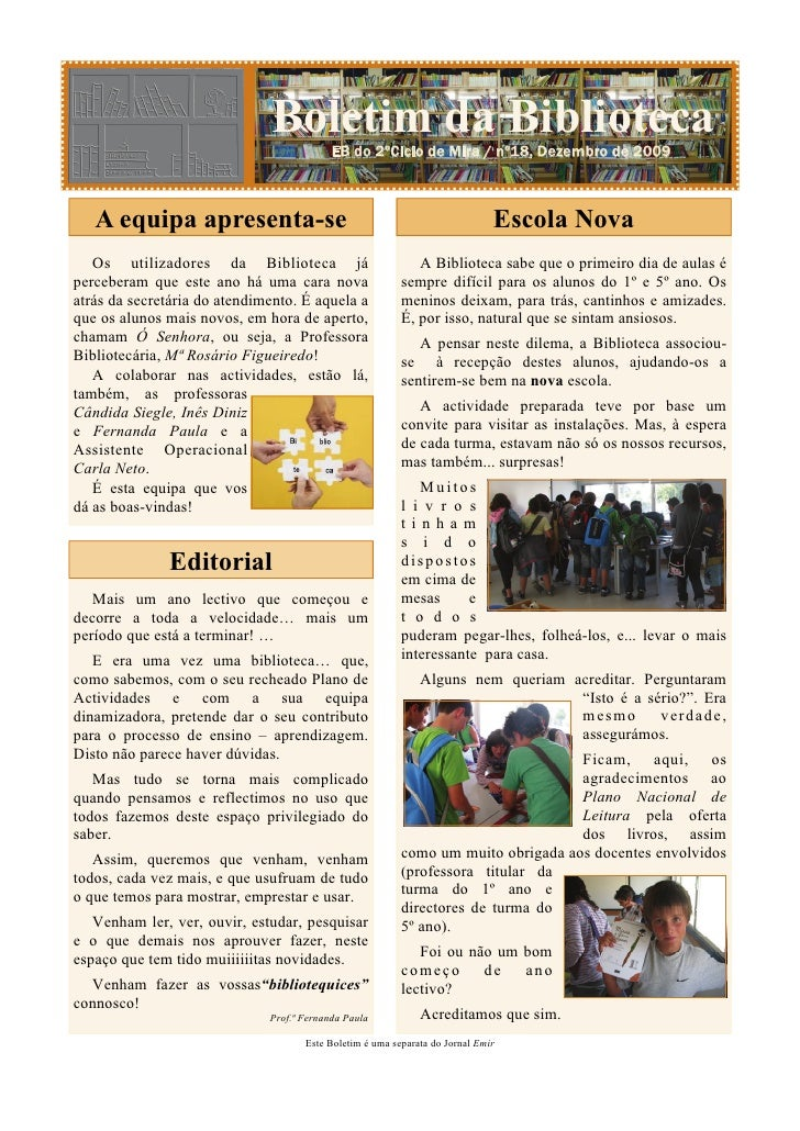 Boletim da Biblioteca / Nº 18 - Dezembro 2009                              Boletim da Biblioteca                          ...