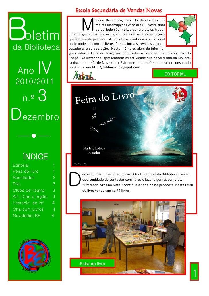 Escola Secundária de Vendas NovasBoletim                         M                                         ês de Dezembro,...