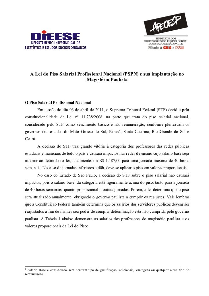 A Lei do Piso Salarial Profissional Nacional (PSPN) e sua implantação no                               Magistério Paulista...