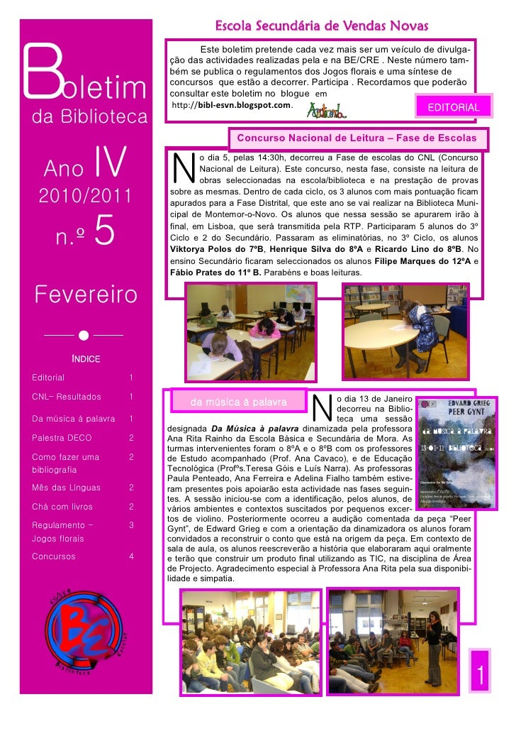 Escola Secundária de Vendas NovasBoletim                                 Este boletim pretende cada vez mais ser um veícul...