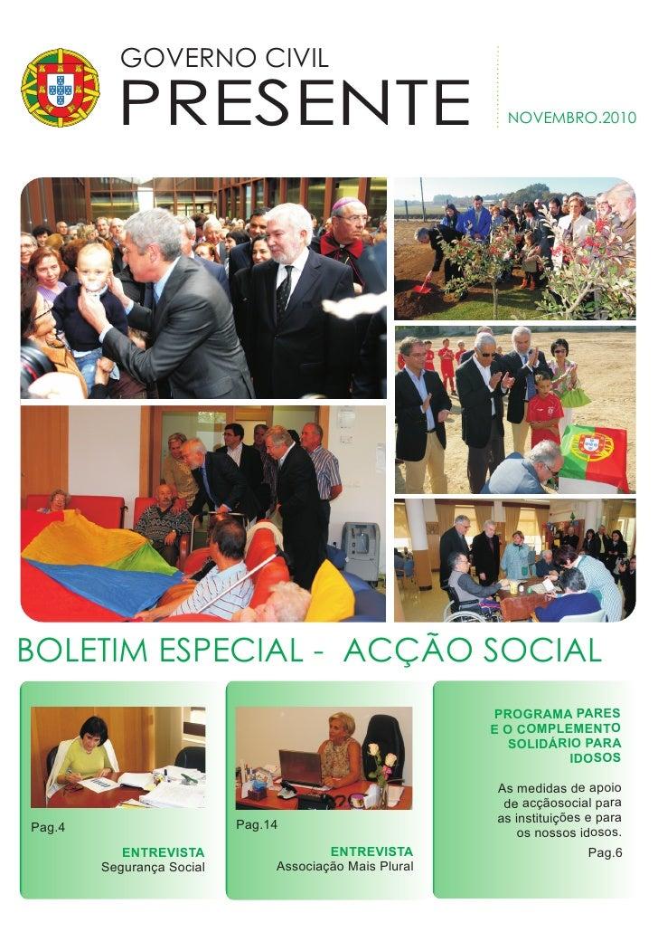GOVERNO CIVIL          PRESENTE                                         NOVEMBRO.2010BOLETIM ESPECIAL - ACÇÃO SOCIAL      ...