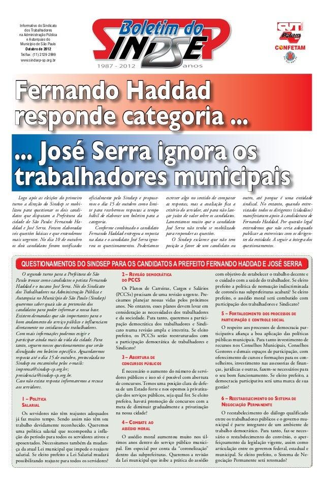 Informativo do Sindicato       dos Trabalhadores   na Administração Pública         e Autarquias do    Município de São Pa...