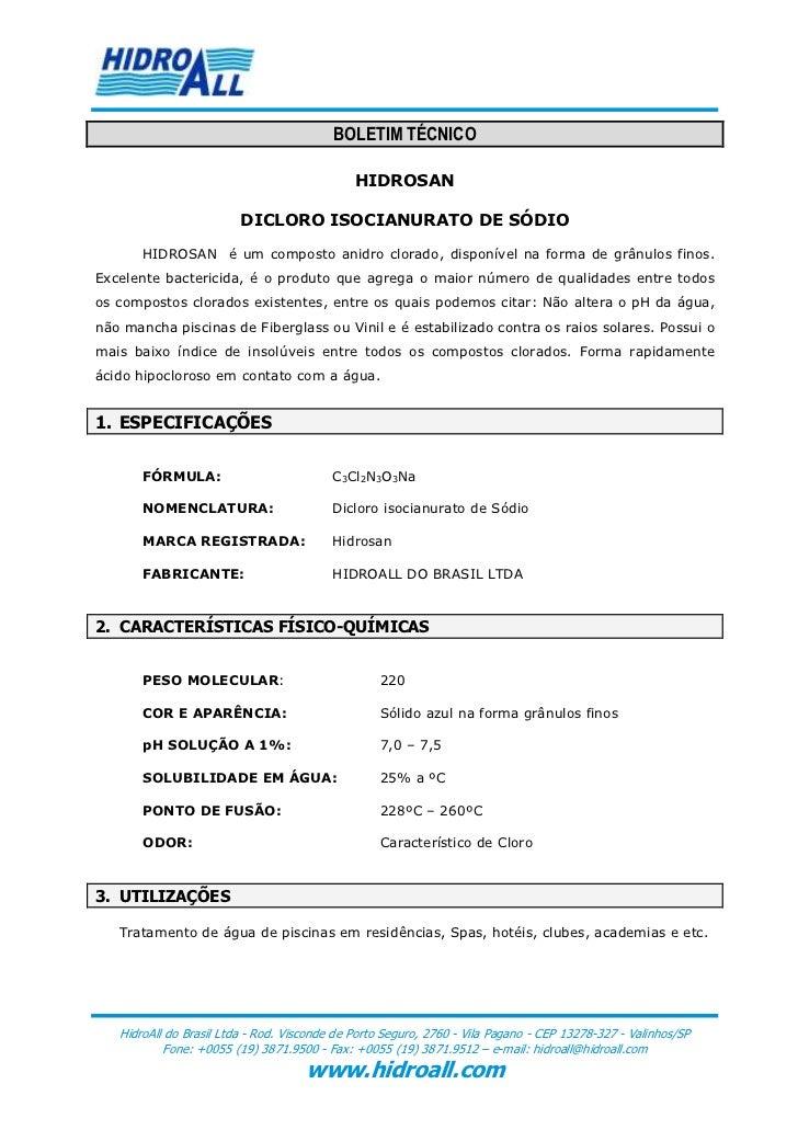 BOLETIM TÉCNICO                                              HIDROSAN                         DICLORO ISOCIANURATO DE SÓDI...