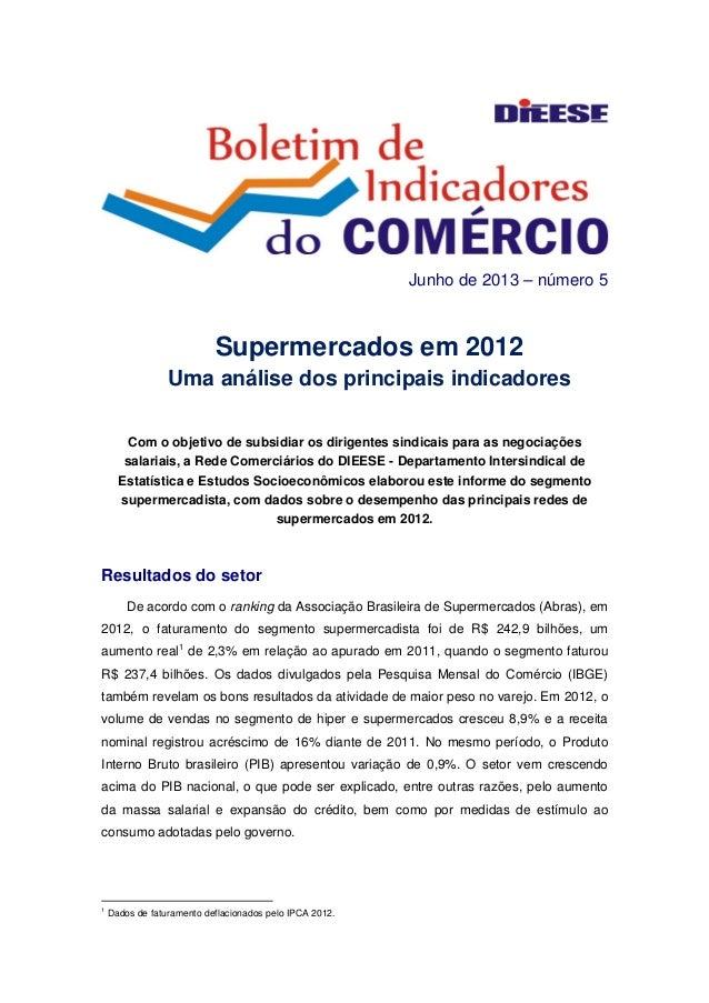 Junho de 2013 – número 5 Supermercados em 2012 Uma análise dos principais indicadores   Com o objetivo de subsidiar os d...