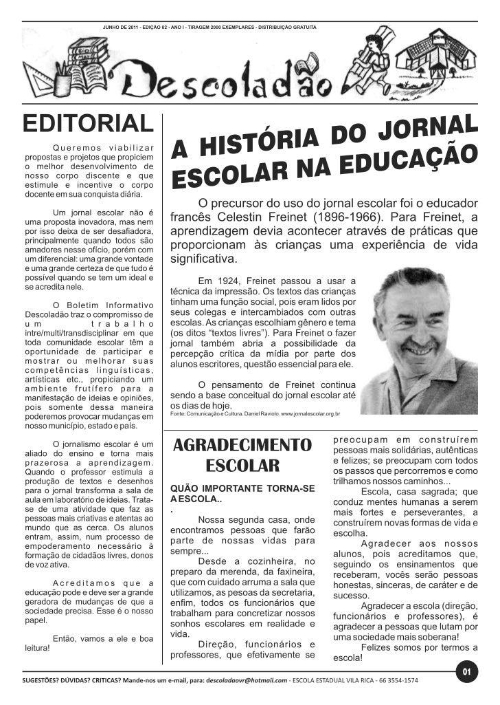 Boletim Informativo 3ª edição Escola Estadual vila rica
