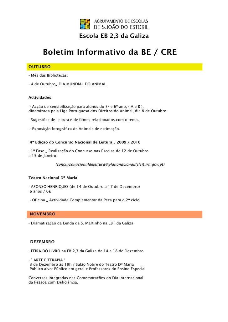 Escola EB 2,3 da Galiza       Boletim Informativo da BE / CREOUTUBRO- Mês das Bibliotecas:- 4 de Outubro_ DIA MUNDIAL DO A...