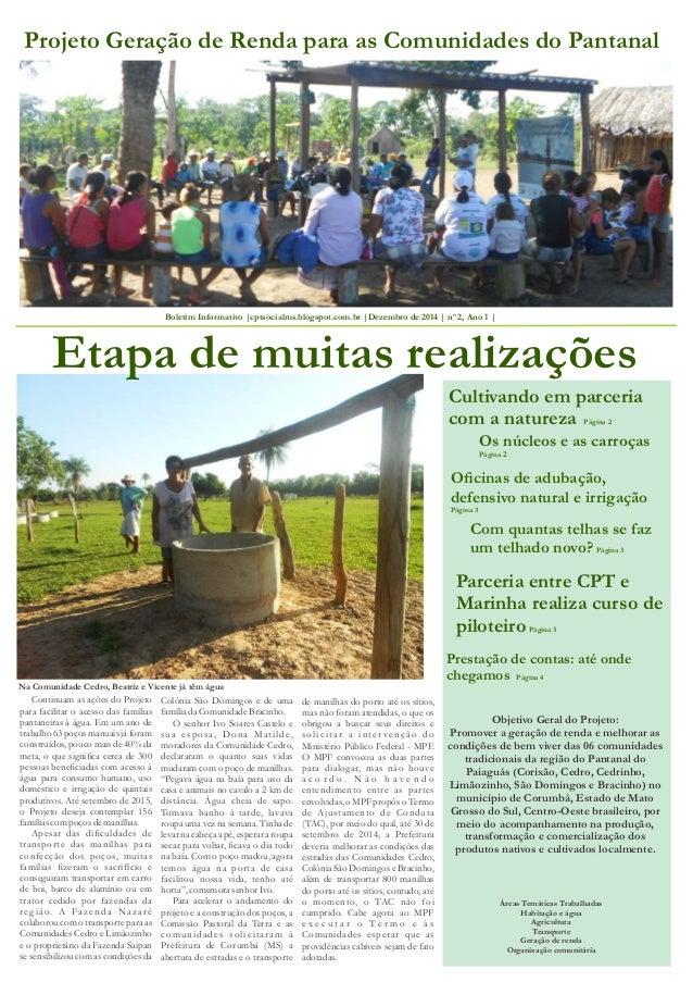 Projeto Geração de Renda para as Comunidades do Pantanal  Boletim Informativo |cptsocialms.blogspot.com.br |Dezembro de 20...