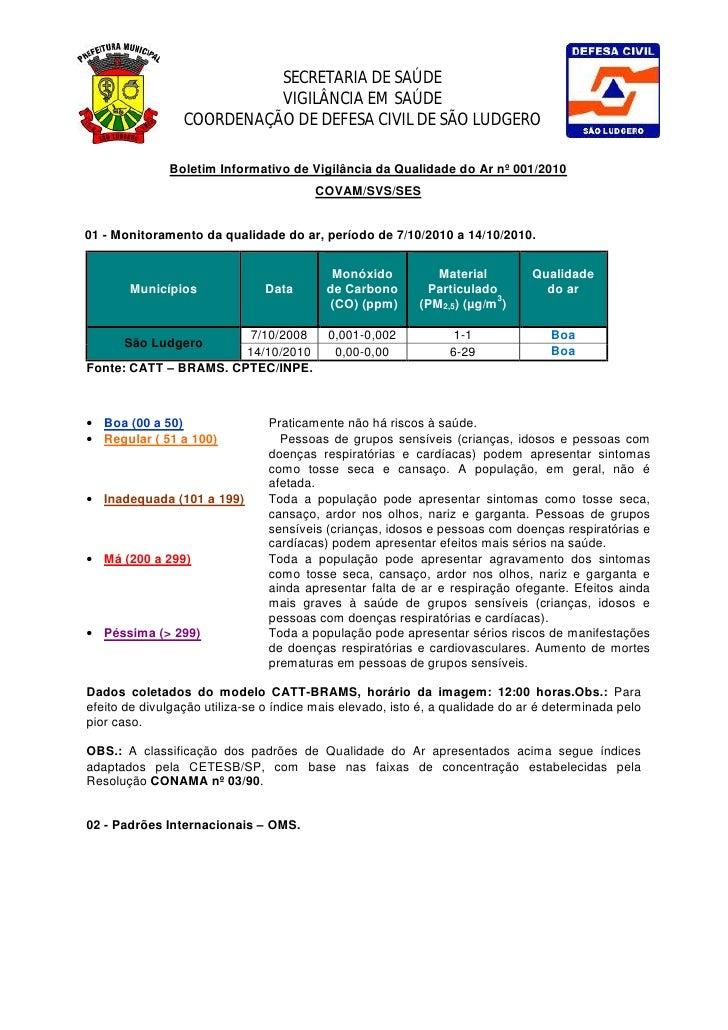 SECRETARIA DE SAÚDE                            VIGILÂNCIA EM SAÚDE                  COORDENAÇÃO DE DEFESA CIVIL DE SÃO LUD...