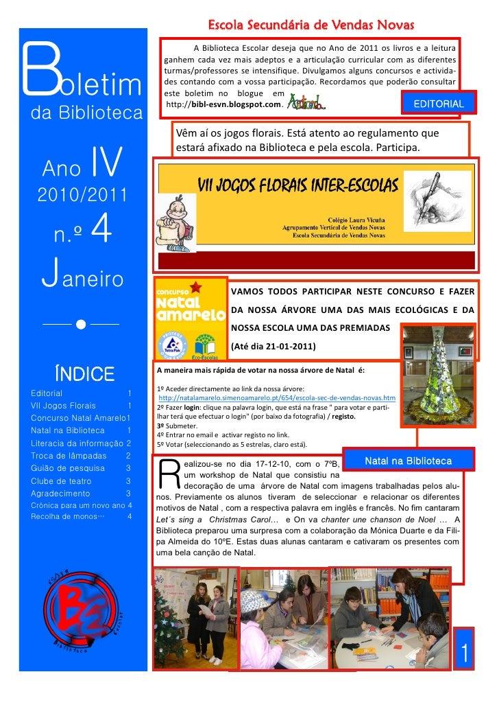 Escola Secundária de Vendas Novas    Boletim                                        A Biblioteca Escolar deseja que no Ano...