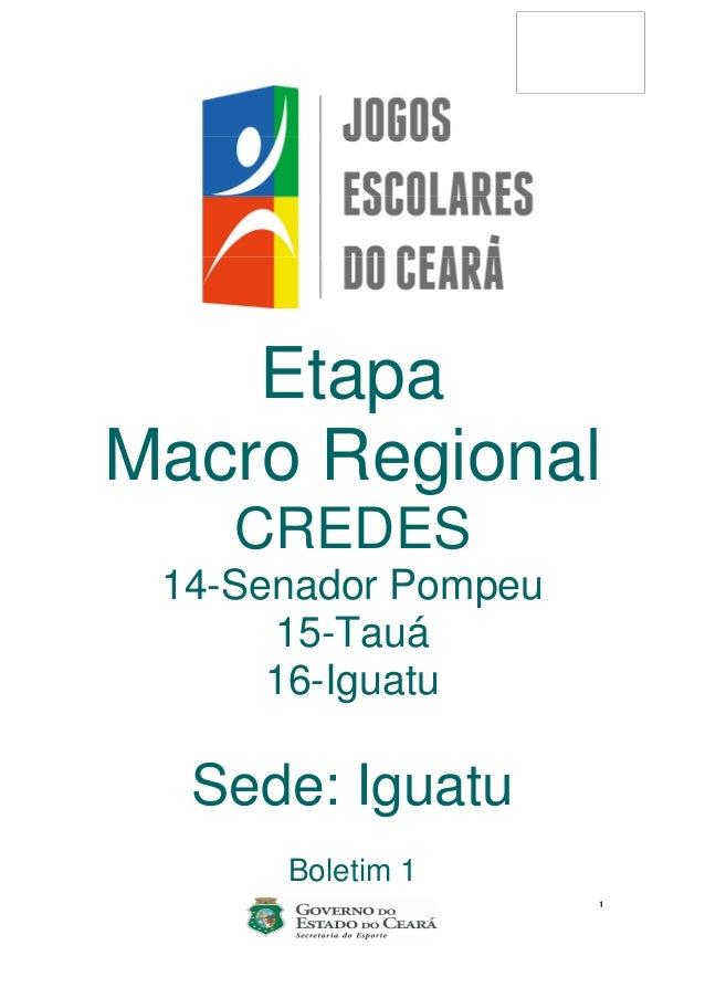 1 Etapa Macro Regional CREDES 14-Senador Pompeu 15-Tauá 16-Iguatu Sede: Iguatu Boletim 1