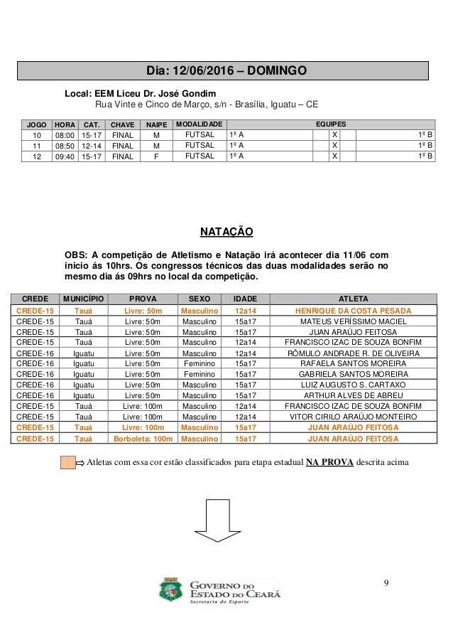 9 Dia: 12/06/2016 – DOMINGO Local: EEM Liceu Dr. José Gondim Rua Vinte e Cinco de Março, s/n - Brasília, Iguatu – CE JOGO ...