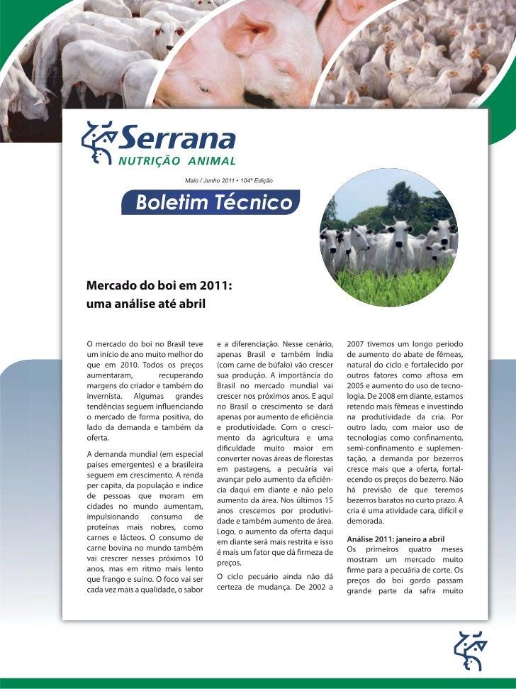 Mercado do boi em 2011: um análise até abril