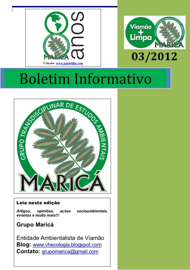 Criação: www.paulolilja.com                                                       03/2012 Boletim InformativoLeia nesta ed...