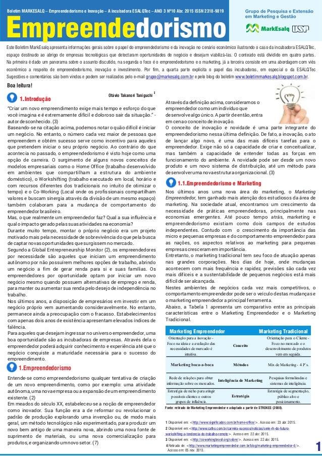 1 Empreendedorismo Boletim MARKESALQ – Empreendedorismo e Inovação – A incubadora ESALQTec – ANO 3 Nº10 Abr. 2015 ISSN 231...