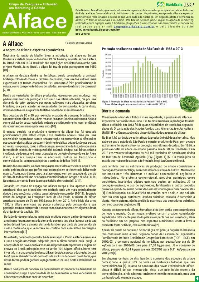 Boa Leitura!Boletim MARKESALQ Alface ANO 3 Nº10 Junho 2015 ISSN 2318-9819 Alface Este Boletim MarkEsalq apresenta informaç...
