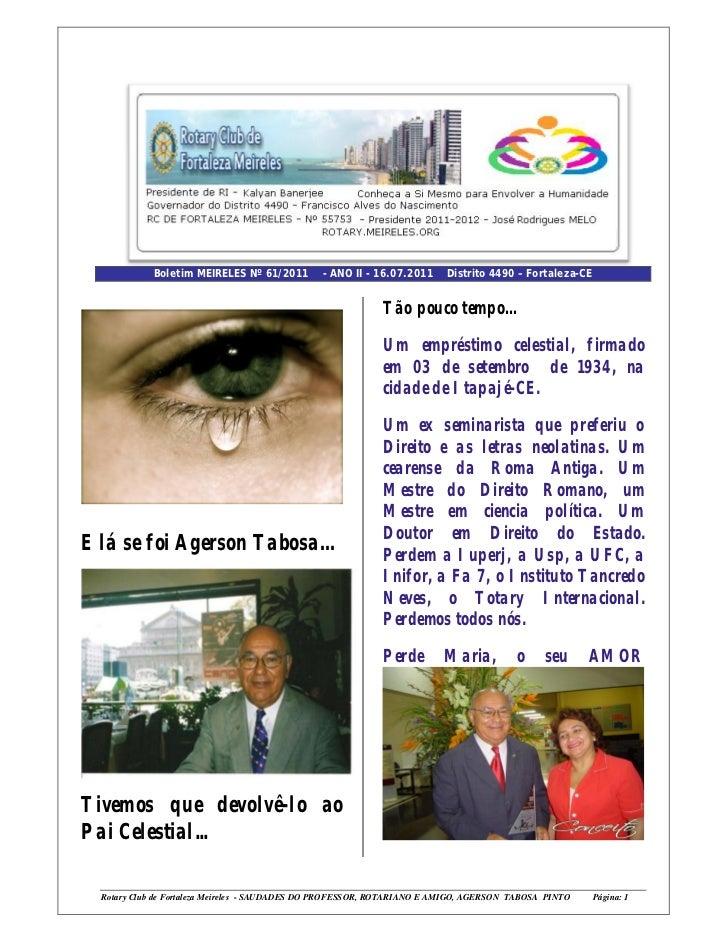 Boletim MEIRELES Nº 61/2011         - ANO II - 16.07.2011     Distrito 4490 – Fortaleza-CE                                ...