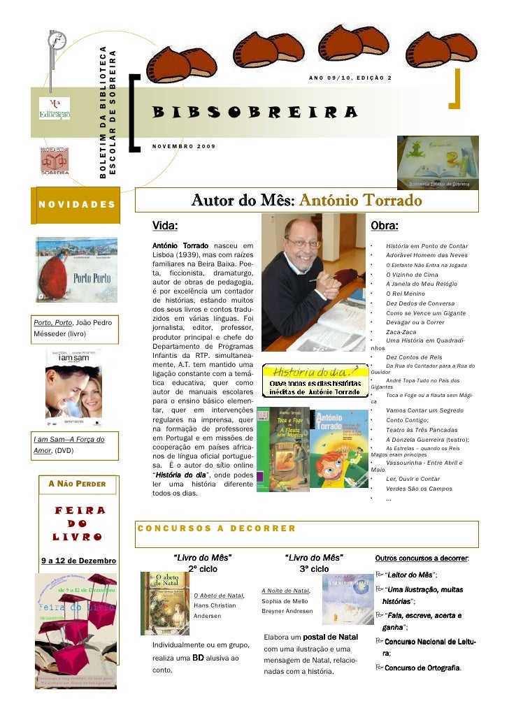 BOLETIM DA BIBLIOTECA                      ESCOLAR DE SOBREIRA                                                            ...