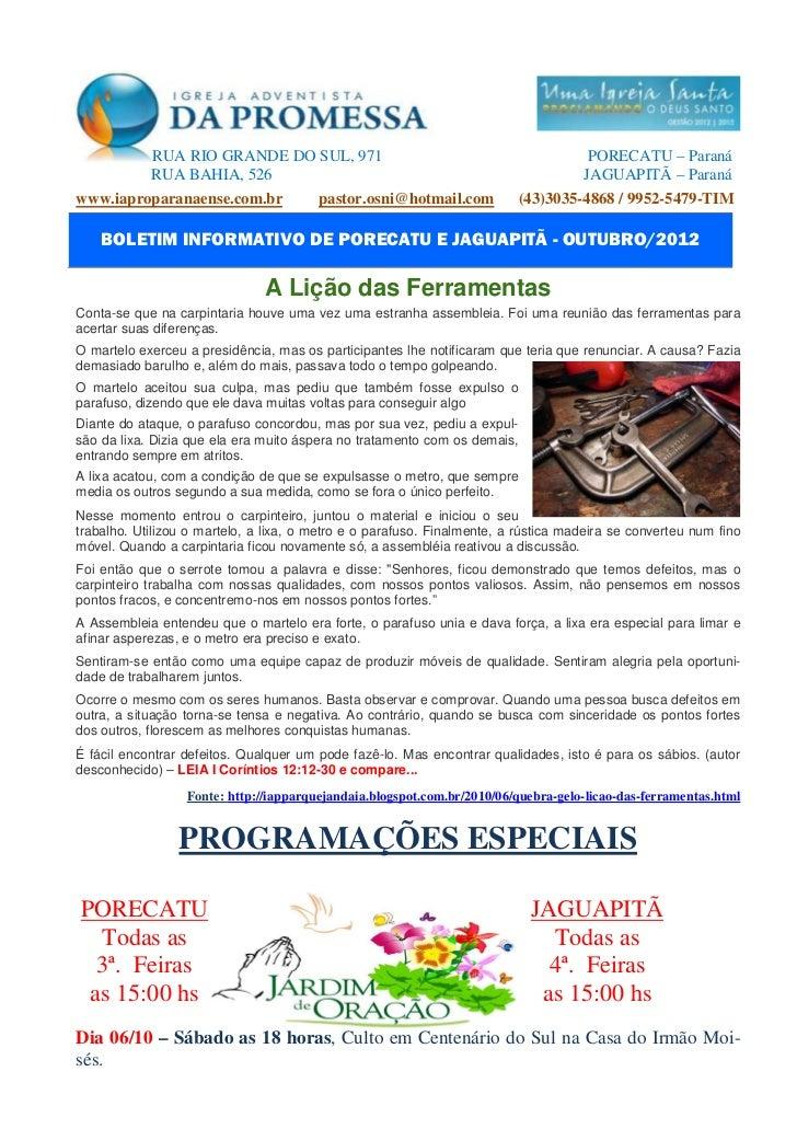 RUA RIO GRANDE DO SUL, 971                                               PORECATU – Paraná            RUA BAHIA, 526      ...