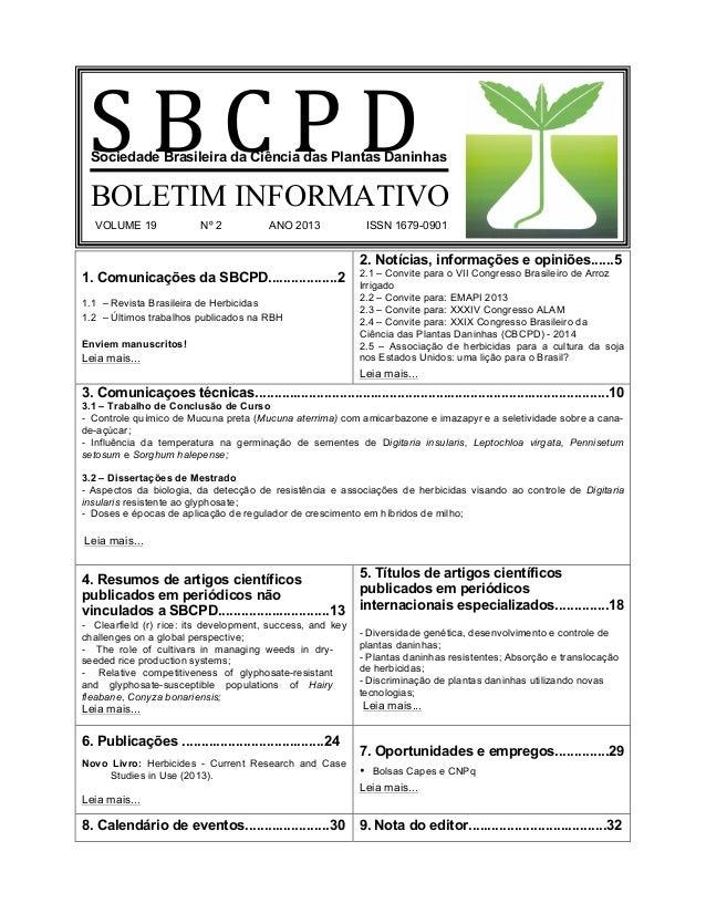 1. Comunicações da SBCPD..................2 1.1 – Revista Brasileira de Herbicidas 1.2 – Últimos trabalhos publicados na R...