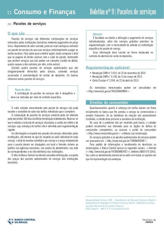 :: Consumo e Finanças  Boletim nº 9 | Pacotes de serviços  Ministério da  Justiça  ::: Pacotes de serviços  O que são  Pac...