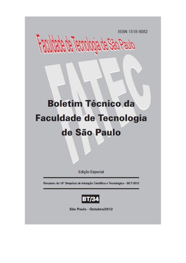 BOLETIM TÉCNICO DA FACULDADE DE TECNOLOGIA DE SÃO PAULO (ISSN 1518-9082) CEETEPS – Centro Estadual de Educação Tecnológica...