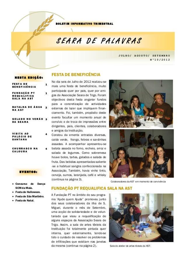 BOLETIM INFORMATIVO TRIMESTRAL                                  SEARA DE PALAVRAS                                         ...