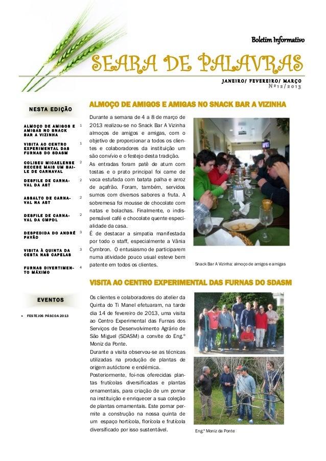 Boletim Informativo                            SEARA DE PALAVRAS                                                          ...
