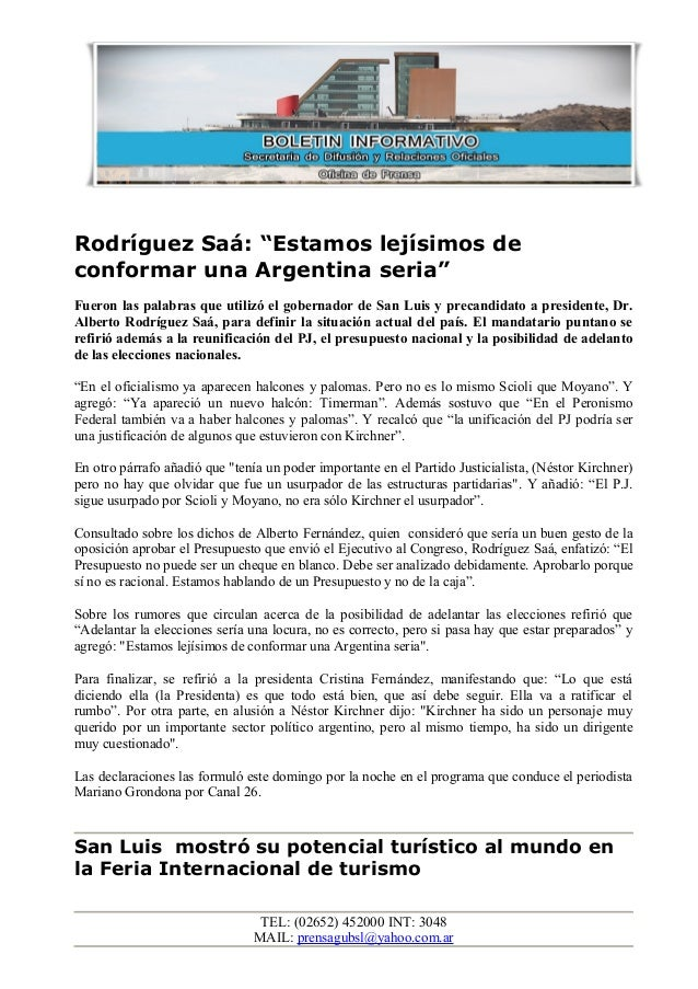 """Rodríguez Saá: """"Estamos lejísimos de conformar una Argentina seria"""" Fueron las palabras que utilizó el gobernador de San L..."""
