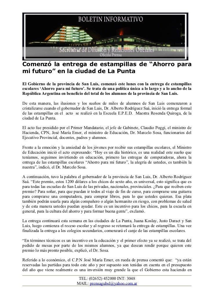 """Comenzó la entrega de estampillas de """"Ahorro parami futuro"""" en la ciudad de La PuntaEl Gobierno de la provincia de San Lui..."""