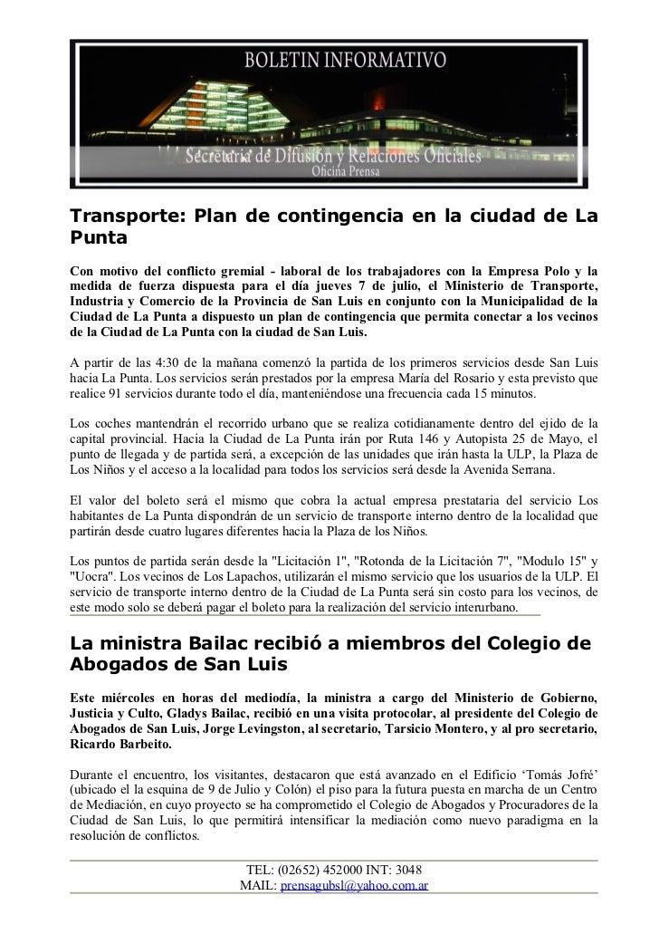 Transporte: Plan de contingencia en la ciudad de LaPuntaCon motivo del conflicto gremial - laboral de los trabajadores con...