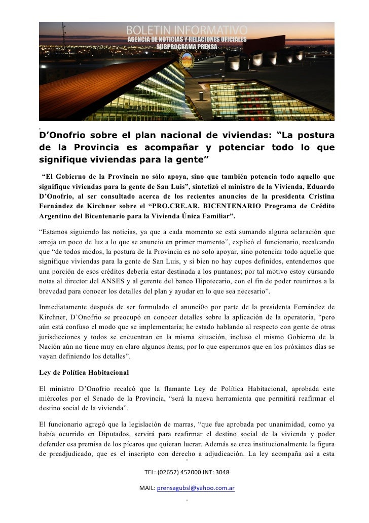 """D'Onofrio sobre el plan nacional de viviendas: """"La posturade la Provincia es acompañar y potenciar todo lo quesignifique v..."""