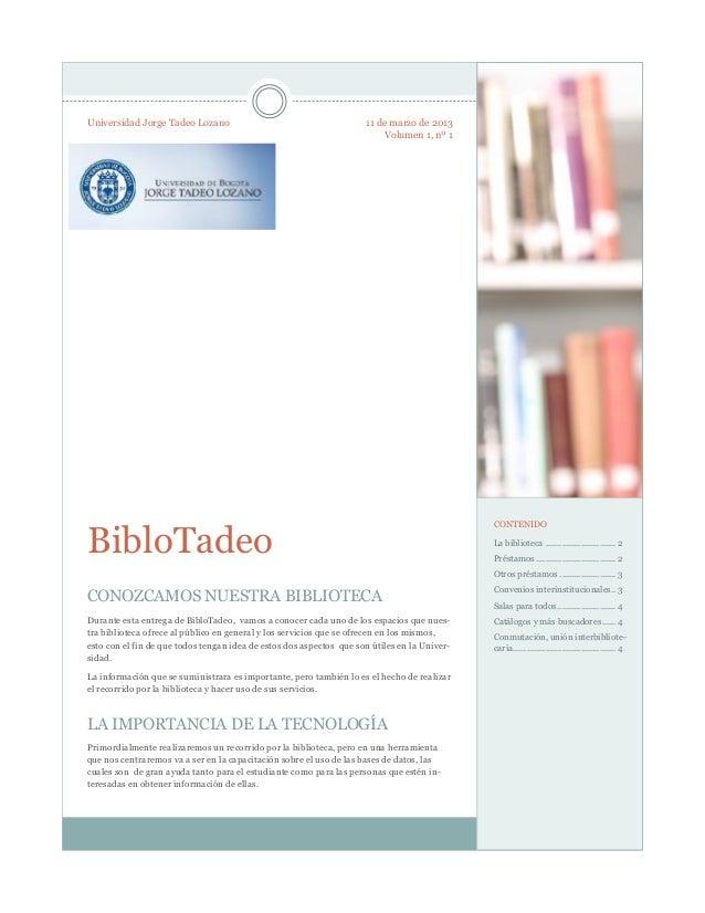 Universidad Jorge Tadeo Lozano                                       11 de marzo de 2013                                  ...